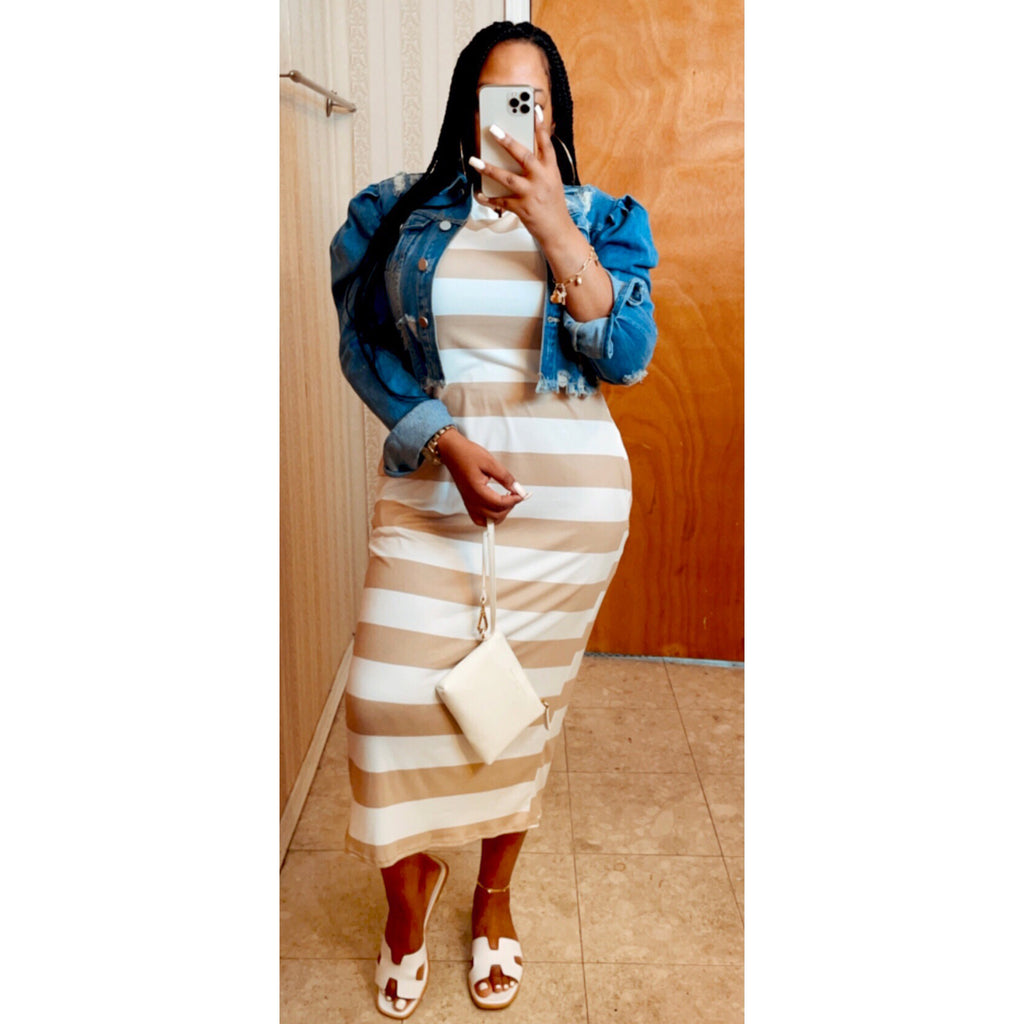 Tracy Stripe Midi Dress