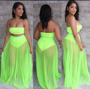 Sheer Skirt Cover up - Neon Green