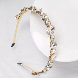 Crystal Clear Gem Headband (Gold)