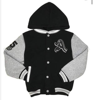 "The ""A"" Varsity Jacket (Black/Grey)"