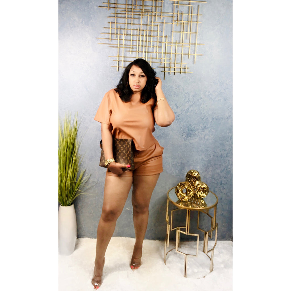Vegan Leather Short Set (Camel)
