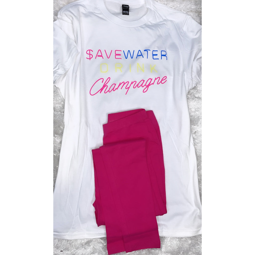 Save Water/Drink Champagne Set(Pink)