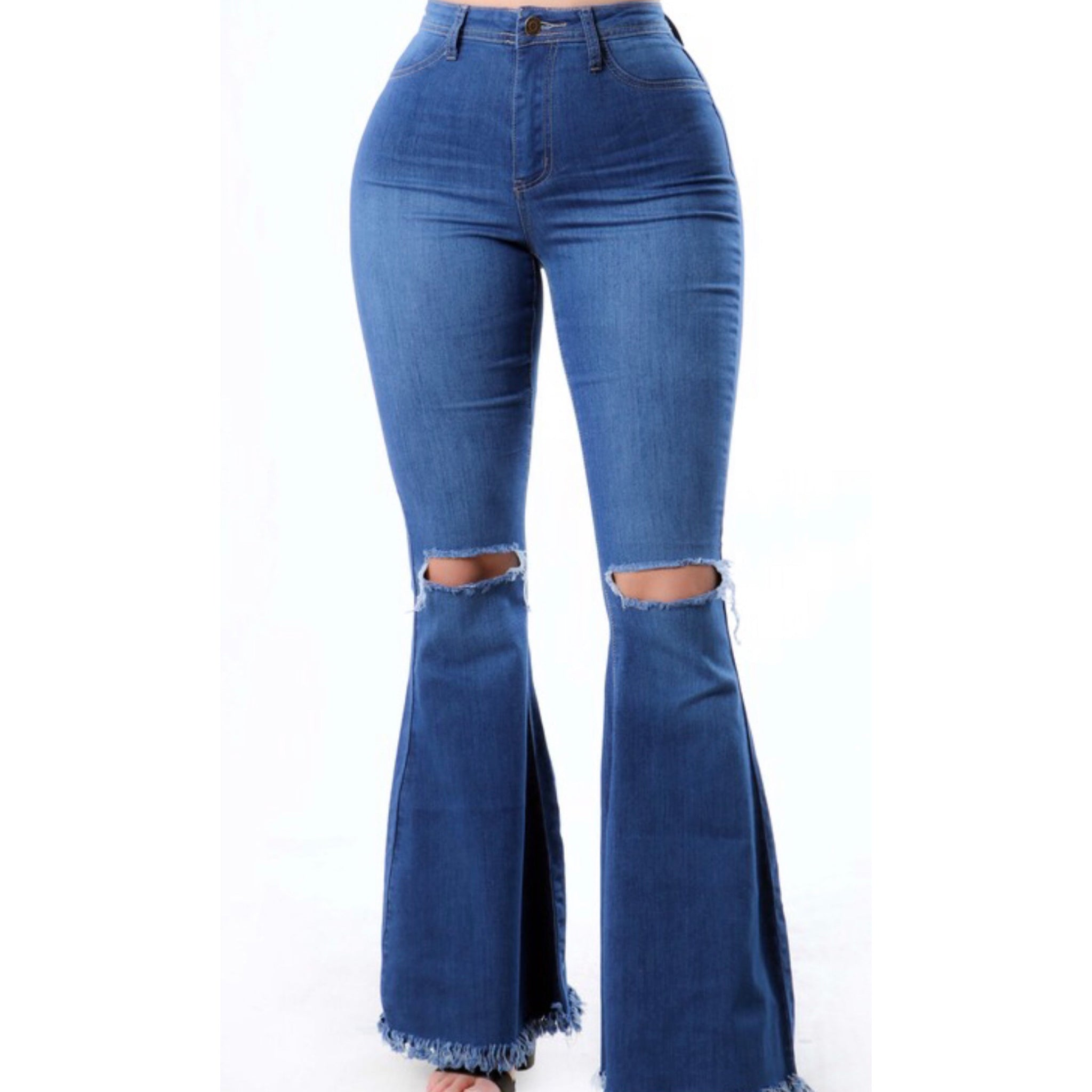 Knees Out Denim Flare Jeans