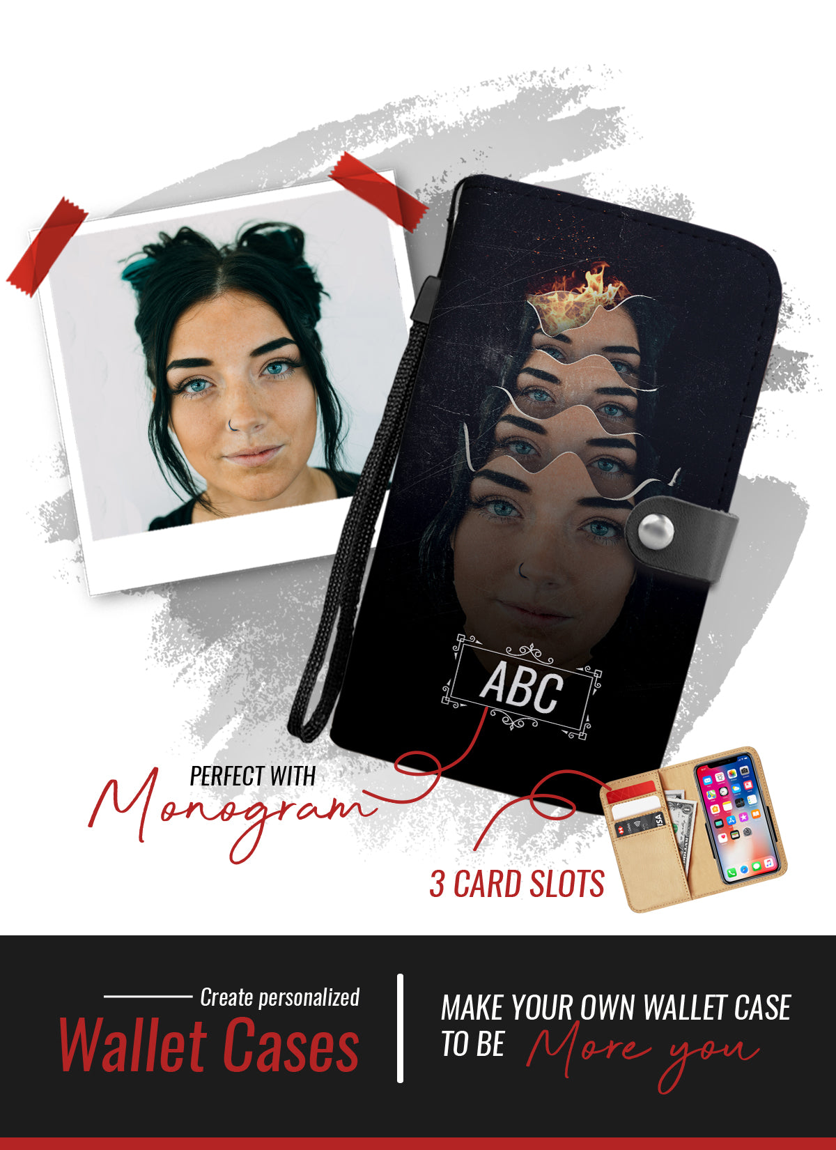 Personalized face peaces wallet phone case
