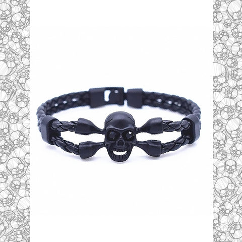 Leather Black Bony Guard Bracelet - NeoSkull