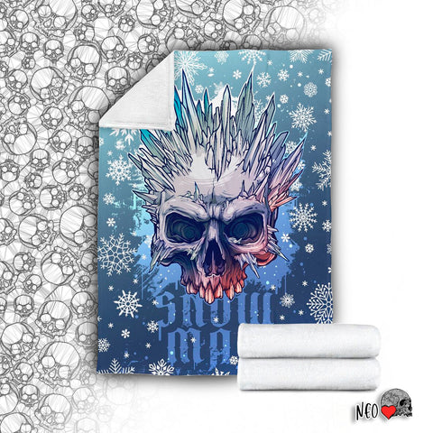 Snow Man Velveteen Plush Blanket snowflake winter horror neoskull