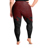 Goth Plus Size Leggings, Ruby freehand doodle style - NeoSkull