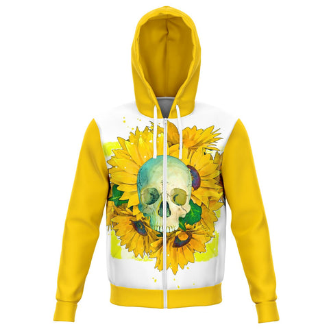 Skull and Sunflowers Zip-up Hoodie - NeoSkull