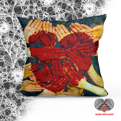 Hands of Love Square Pillow - NeoSkull