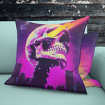 Bright Future CyberPunk Visions Throw Pillow - NeoSkull
