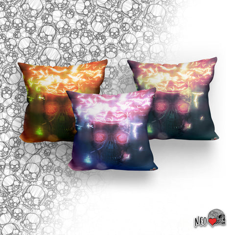 Neon Glitch Bat Swarm Skull Pillow with Insert - NeoSkull