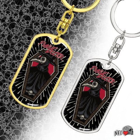 Plague Doctor Dog Tag Keychain