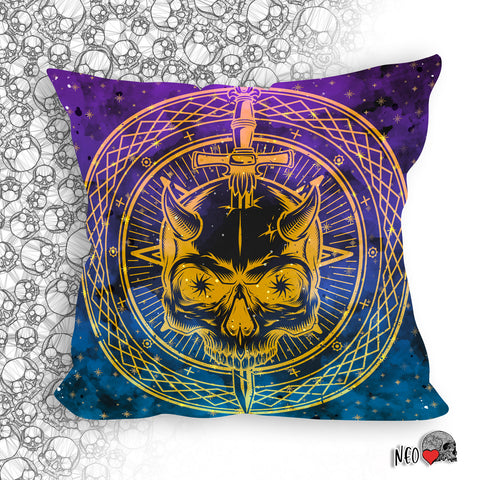 Skull Pierced with Knife occult decor pillow