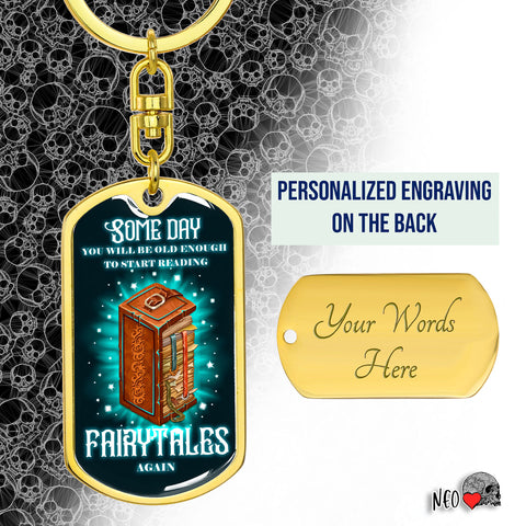 Reading Fairytales Again - Dog Tag Kechain