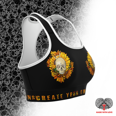 Sunflower Skull Sports Bra - NeoSkull