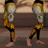 Sunflowers Skull Sunshine Yoga Leggings - NeoSkull
