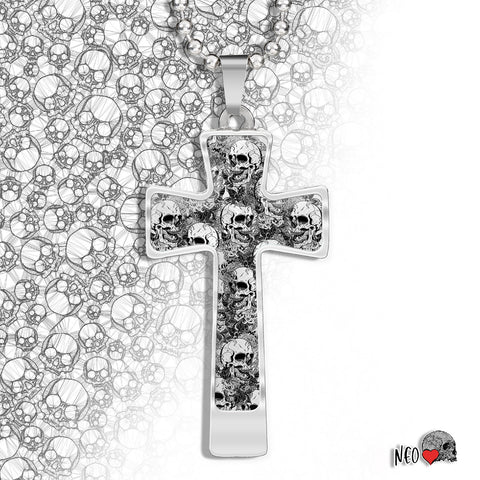 skull cross necklace gothic jewelry personalized