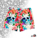 watercolor peonies and skull swim trunk