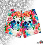 vintage skull and flowers swim trunks