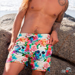flowers peony aquarelle skulls men shorts