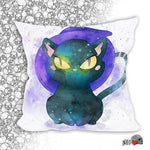 Witch's Cat Pillow watercolor witch wiccan Halloween style