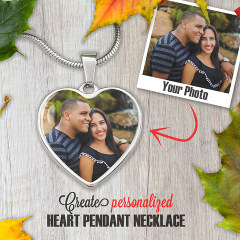Personalized Photo Necklace Heart. Custom Picture - NeoSkull