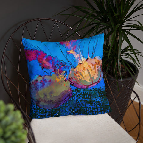 Just a Two of Us - Jellyfish Throw Pillow - NeoSkull
