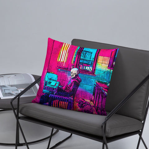Bored Skeleton Throw Pillow - NeoSkull
