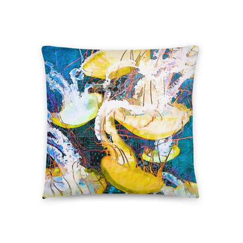 Flock of Jellyfish Throw Pillow - NeoSkull