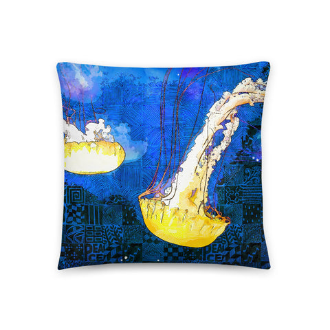 Yellow Dream Jellyfish Throw Pillow - NeoSkull