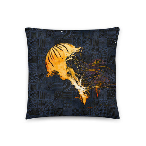 Ray of Light in the Dark Jellyfish Throw Pillow - NeoSkull