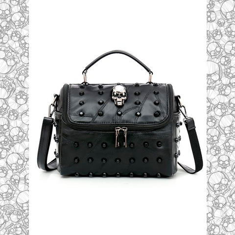 Skull Studded Leather Messenger Bag - NeoSkull