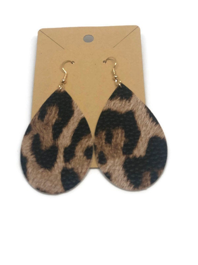 Teardrop Animal Print Earrings