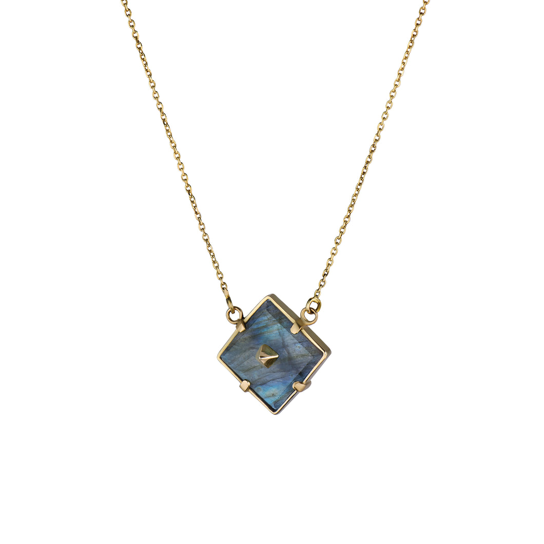 Large Squared Gold Pin Necklace