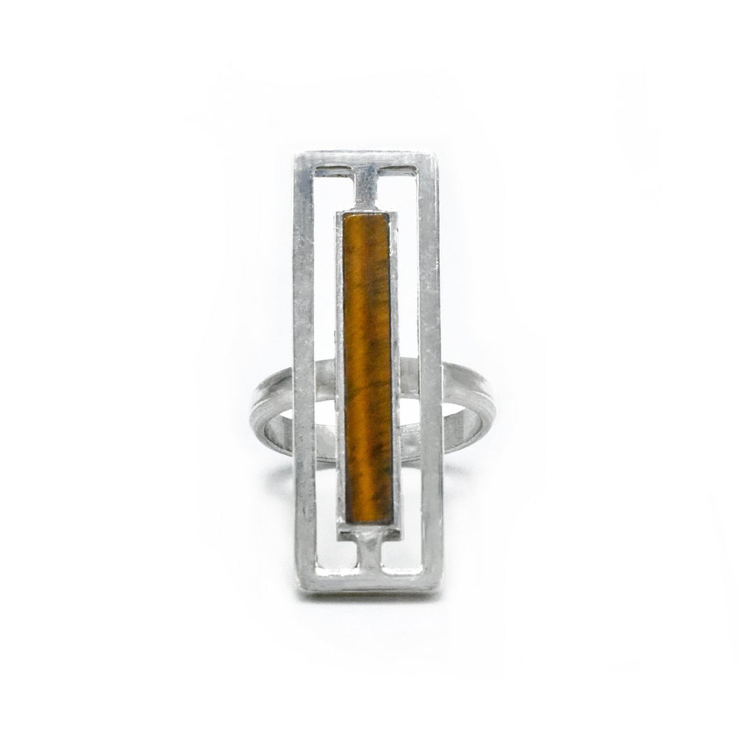 Rectangular Tiger Eye Ring