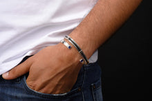 Men's Duo Cuff in Black Leather