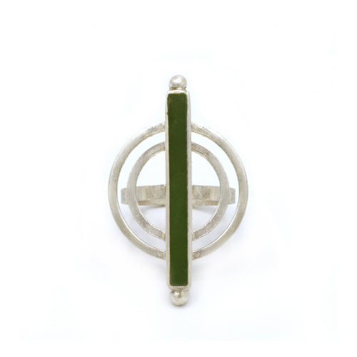 Power Ring in Green Jade