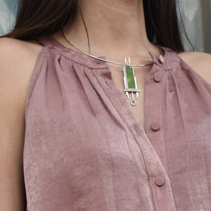 Rectangular Double-Wire Necklace in Jade