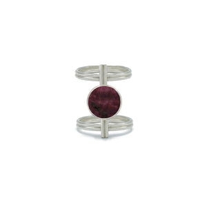 Circular Double-Wire Ring in Tumbled Ruby