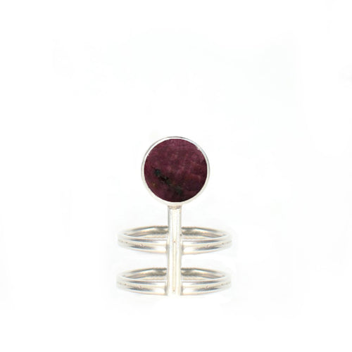 Circular Tumbled Ruby Ring