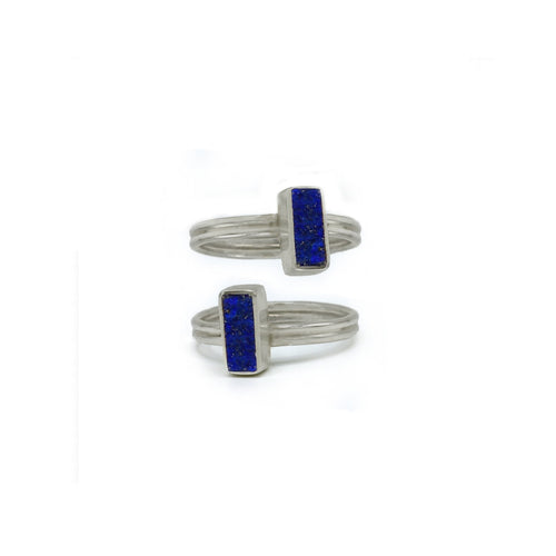 Stackable Rectangular Ring in Lapis Lazuli