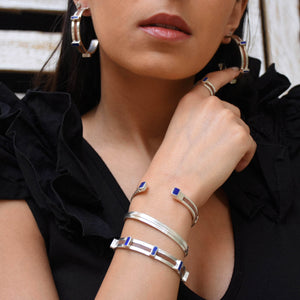 Women's Duo Silver Cuff in Lapis