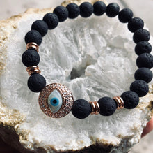 Load image into Gallery viewer, Evil Eye Volcanic Bead Bracelet