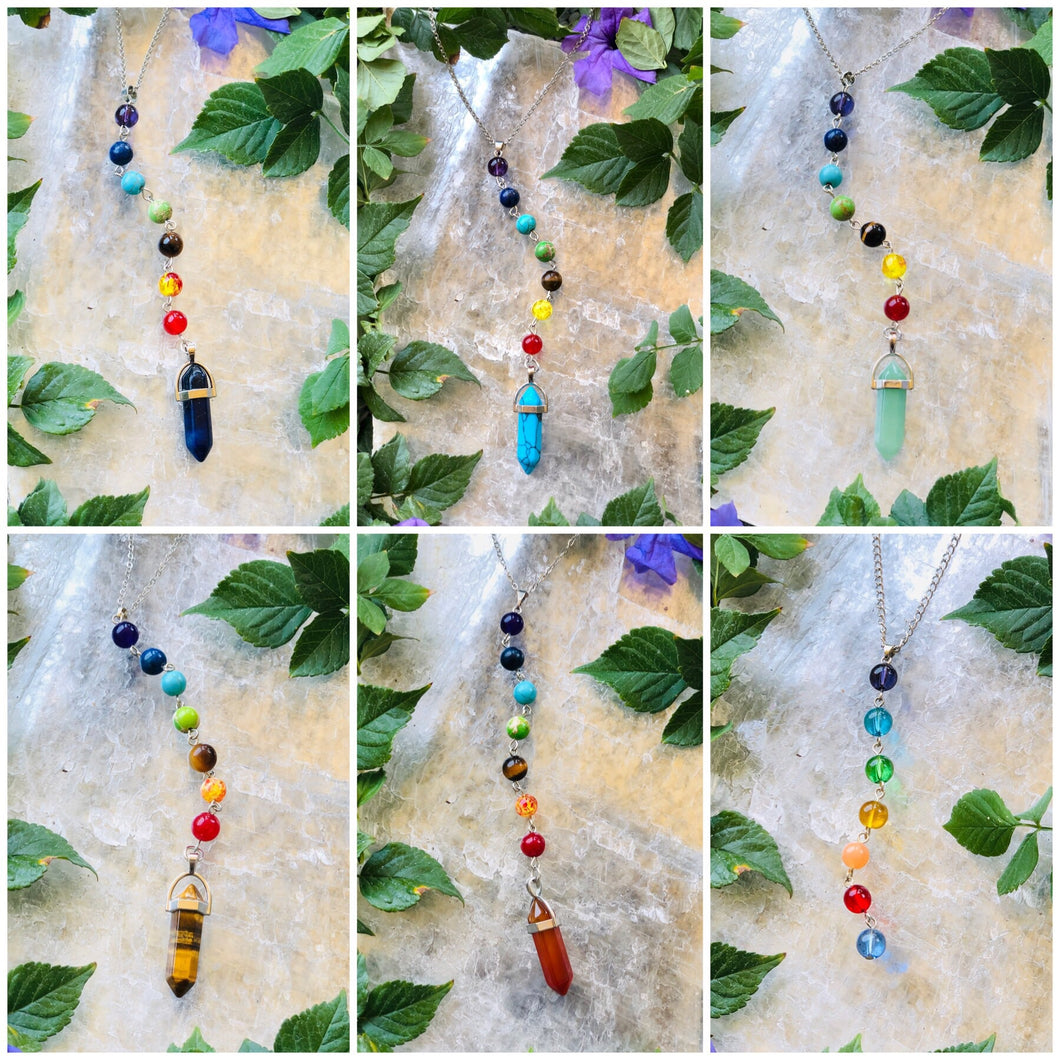 Seven Chakra Crystal Necklace