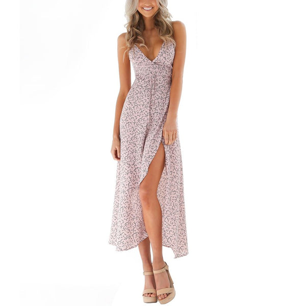 2019 New Summer Boho Long Dresses Women Sexy Lady High Waist Front Fork Dress Vestidos