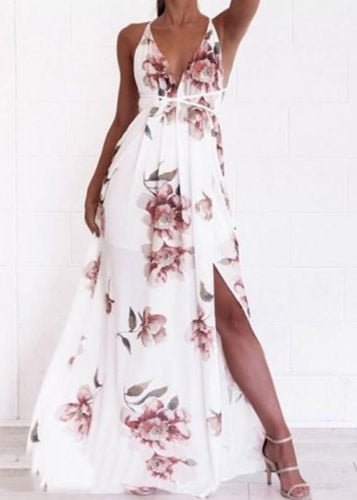 Fashion Summer Women Floral Sexy Chic Slit Dress Beach Sleeveless Long Maxi Dress Deep V Summer Sundress