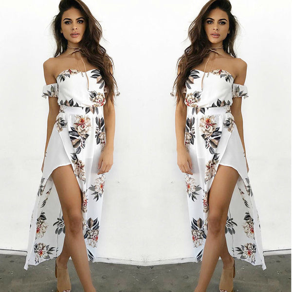 Floral Print Long Sleeve Boho Dress Ladies Floral Print Casual Long Fashion Dresses Women Summer Clothing