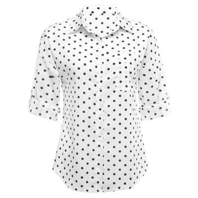 GUMPRUN Womens Tops And Blouses Plus Size Dot Print Shirt Summer Women Lapel Loose White Blouse Casual Top Shirts