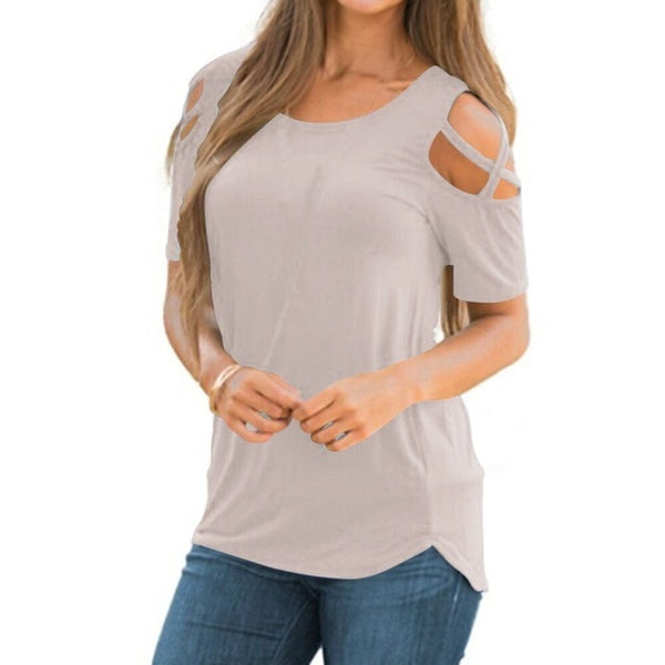Women Summer Short Sleeve Strappy Cold Shoulder Tops Blouses