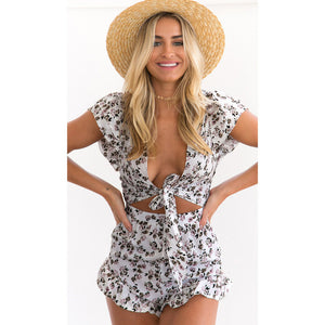 Women Tie Front Jumpsuit Short Rompers Floral Print V-Neck Sexy Bodysuit Cut Out Ruffle Backless Casual XL  Body Suit